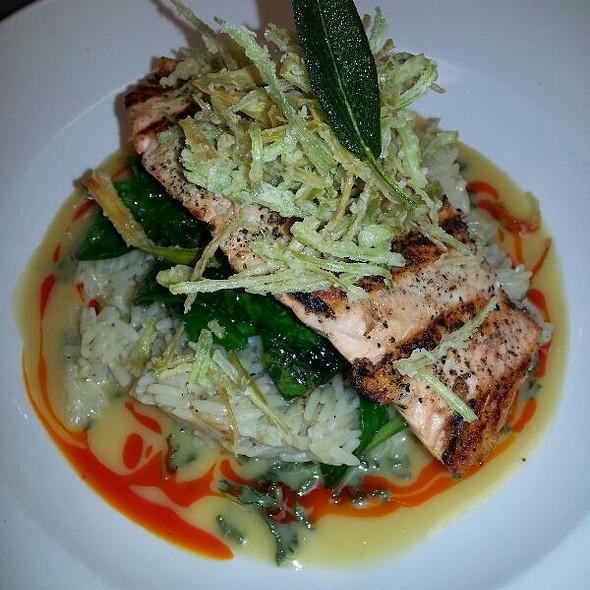 Salmon...garlic Pilaf, Fried Leeks & A Honey Sage Cream Sauce - The Palace Restaurant and Saloon, Santa Fe, NM