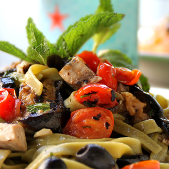 fettucini with cherry tomatoes, olives, & chicken - Osteria Panevino, San Diego, CA
