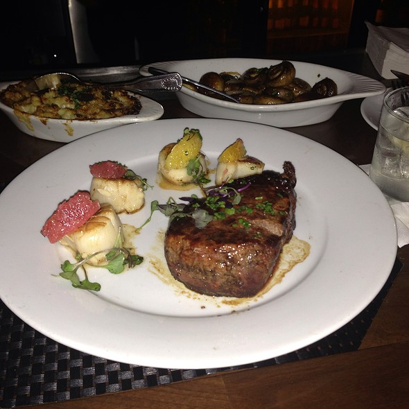 Seared Filet & Scallop, Truffle Mac And Cheese - Eddie V's - City Centre, Houston, TX