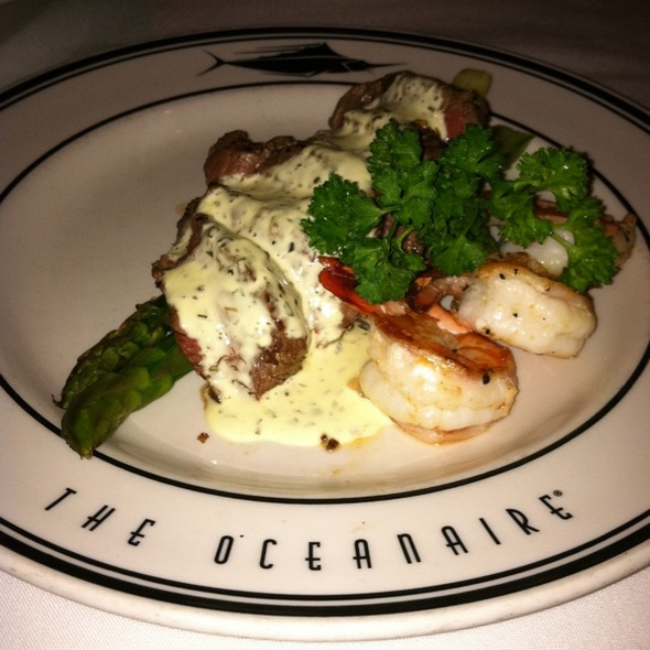 Grilled Steak & Shrimp with Asparagus in a Béarnaise Sauce - Oceanaire Seafood Room - San Diego, San Diego, CA