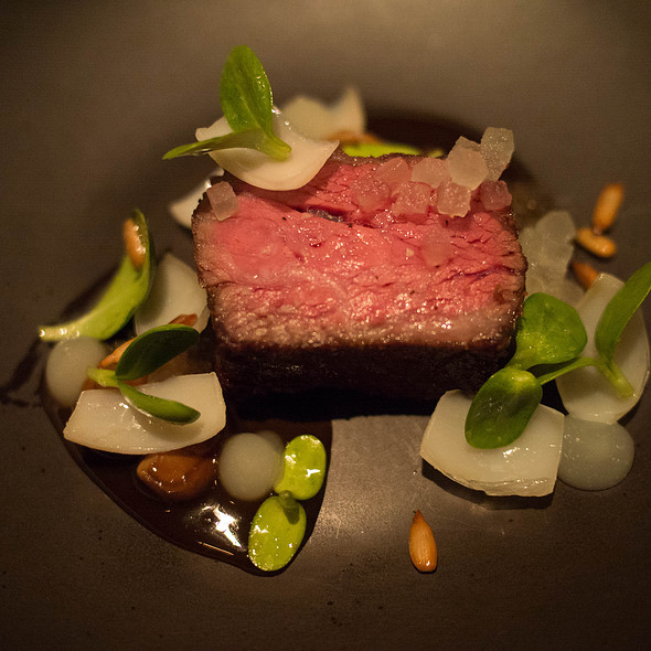 Beef Rib Steak, Pear, Shiitake Mushroom, Lily Bulb, Sunflower - Benu, San Francisco, CA