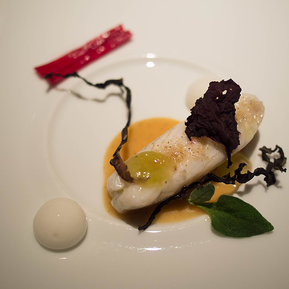 Noirmoutier Turbot, Red Chard, Nori, Fumet Reduction, Concord Grape - Baume Restaurant, Palo Alto, CA