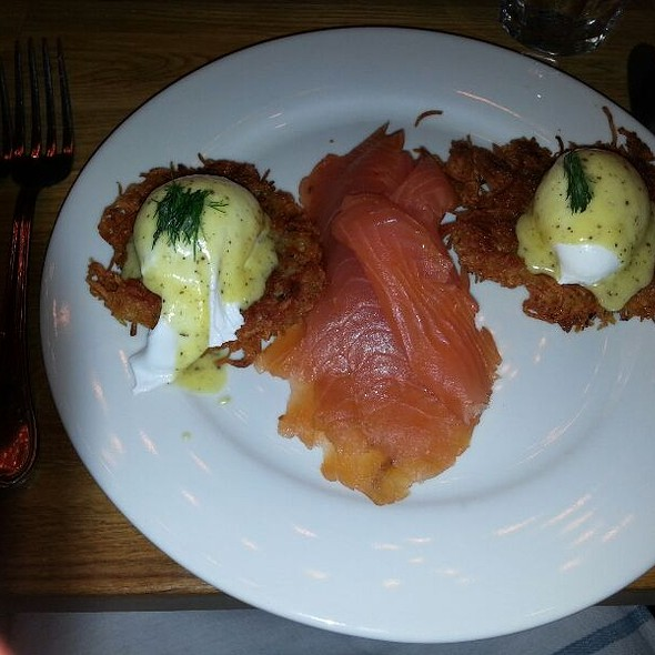 Potato Latke With Poached Eggs And Smoked Salmon  - DGS Delicatessen, Washington, DC