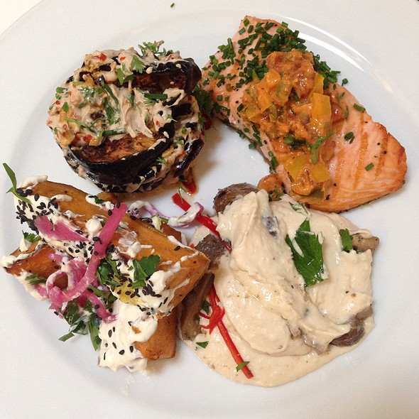 Salmon, Butterbean Hummus, Eggplant & Sweet Potato Salads - Ottolenghi Islington, London