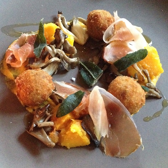 Shaved Speck And Trotter With Autumn Squash, Maitake Mushrooms And Pumpkin Seeds - Flour + Water, San Francisco, CA