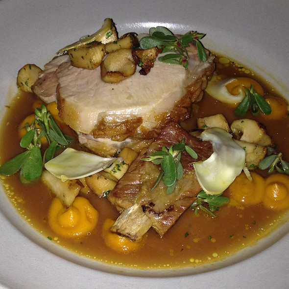 Mixed Roast Of Pork With Pine Mushrooms, Kuri Squash And Pine Brodo - Flour + Water, San Francisco, CA