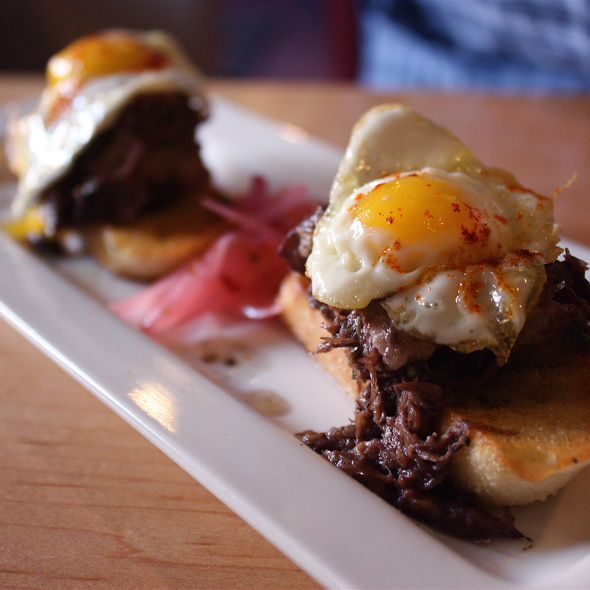 Braised Short Rib Crostini w/ Quail Eggs - La Boca, Santa Fe, NM