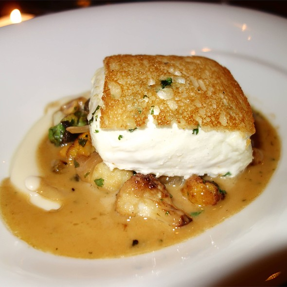 "Halibut en Croute, Artichoke, Golden Raisins, Hazelnuts, Sauce ""Proposal"" - Marc Forgione, New York, NY"