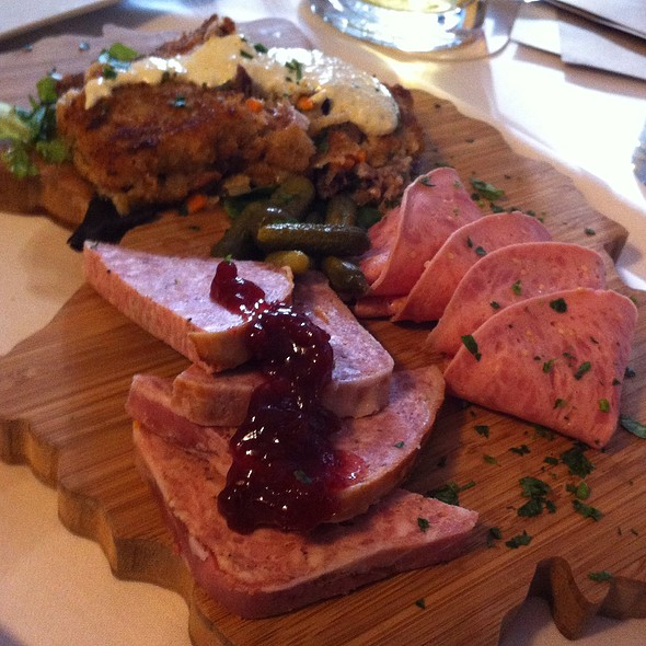 Metzger Platte With Country Pork Twrrine, Crispy Head Cheese & Hard German Salami - Cafe Berlin, Washington, DC