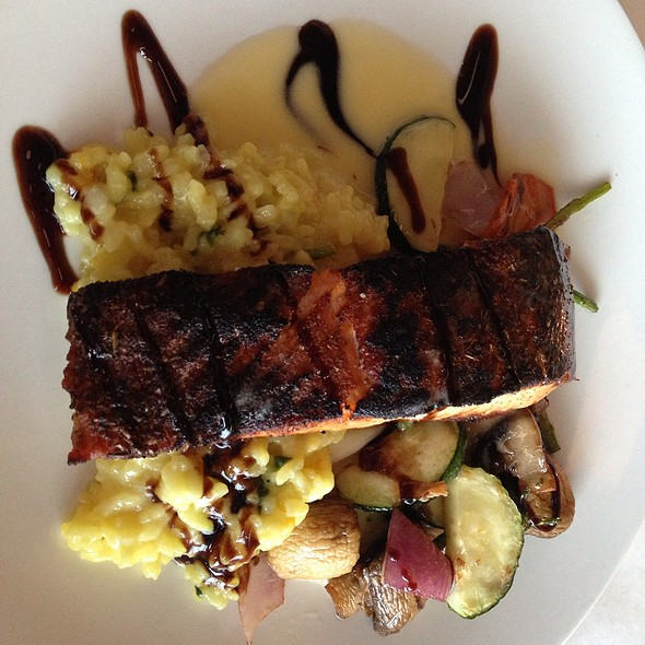 Blackened Salmon, Oven Roasted Vegetables, Saffron Risotto, Lemon Butter, Balsamic Reduction - D'Agnese's, Broadview Heights, OH