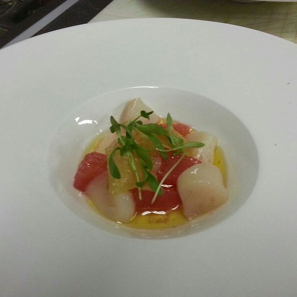 Bay Scallop Crudo with Grapefruit & Candied Ginger - The North Fork Table & Inn, Southold, NY