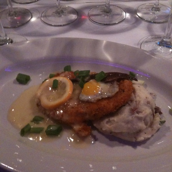 Austrian Schnitzle w/ Quail Eggs and Anchovy, Meyer Lemon Sauce, Red Skin Potato Mash - Bistro 185, Cleveland, OH