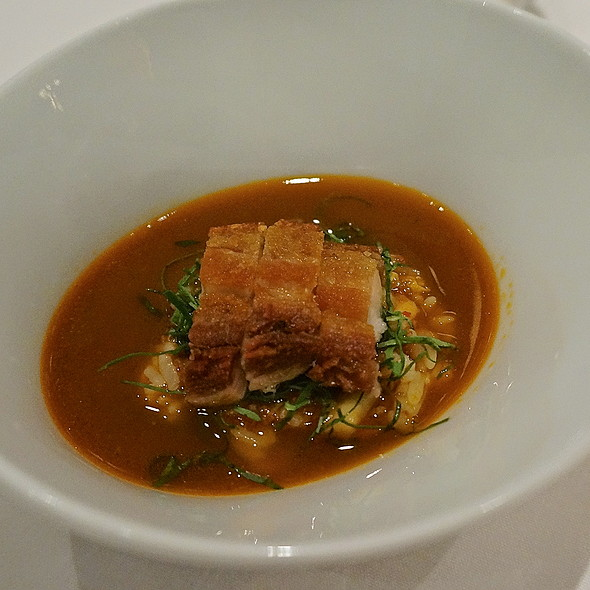 Hae jang – confit pork belly, spinach, beech mushrooms, rice, spicy pork rib broth - JUNGSIK, New York, NY