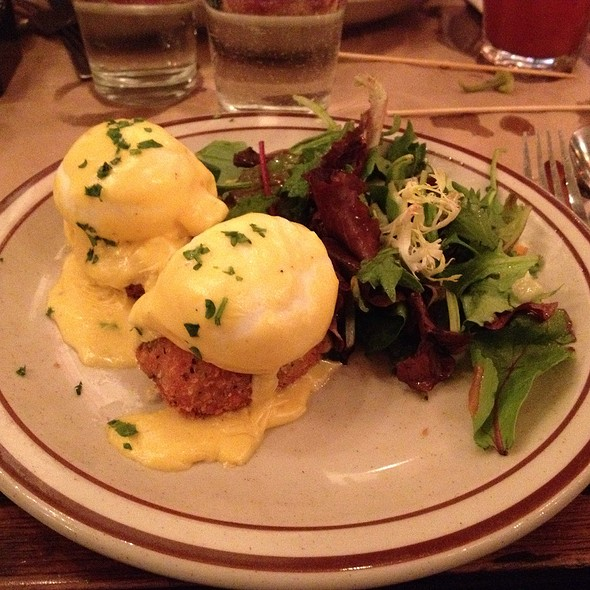 Eggs Benedict On Crispy Salmon Cakes - Beehive, Boston, MA