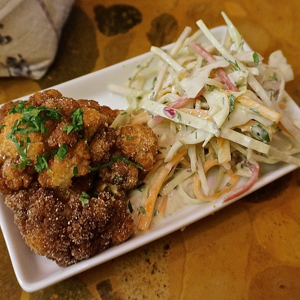 Fried cauliflower, beirut-style coleslaw, pickles, tahini (Middle Eastern, mezes) - Oleana, Cambridge, MA