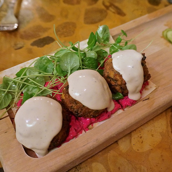Spinach falafel, tahini sauce, beet yogurt, watercress (Middle Eastern, mezes) - Oleana, Cambridge, MA
