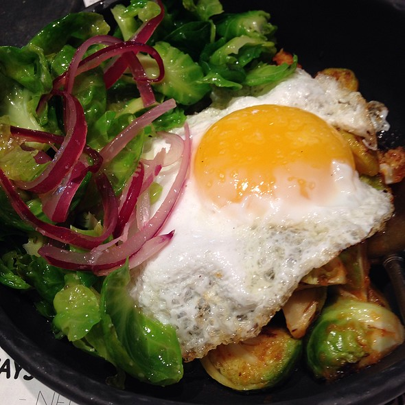 Roasted Brussel Sprouts, Duck Egg, Kimchi - Provisions, Houston, TX