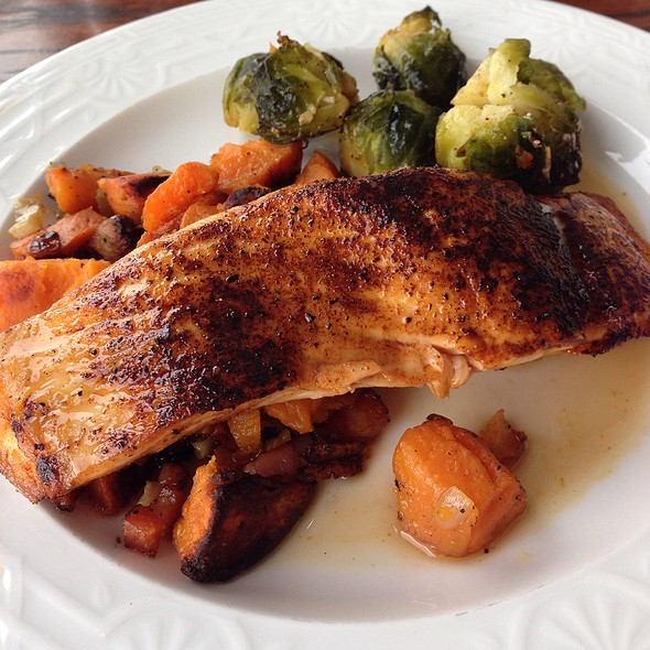 Maple Glazed Salmon With Sweet Potato Hash And Brussel Sprouts - Black Bass Hotel, Lumberville, PA