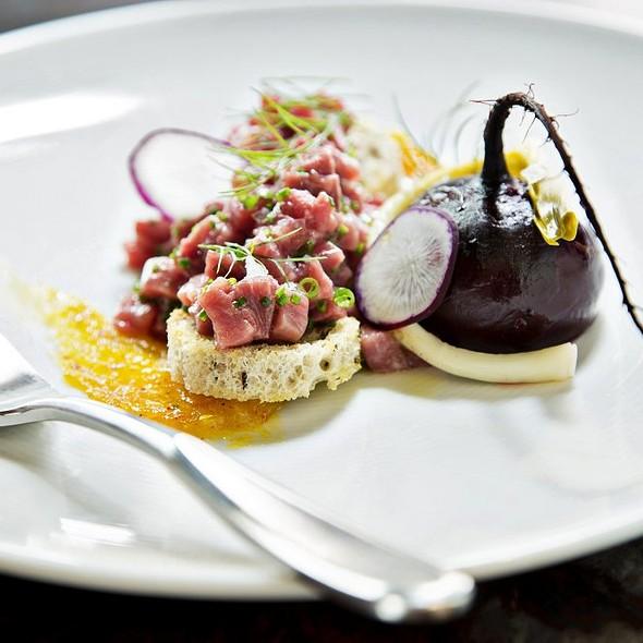 Chopped Bison on Rye Toast with Egg Yolk Horseradish Vinaigrette  - B&O American Brasserie - Hotel Monaco, Baltimore, MD