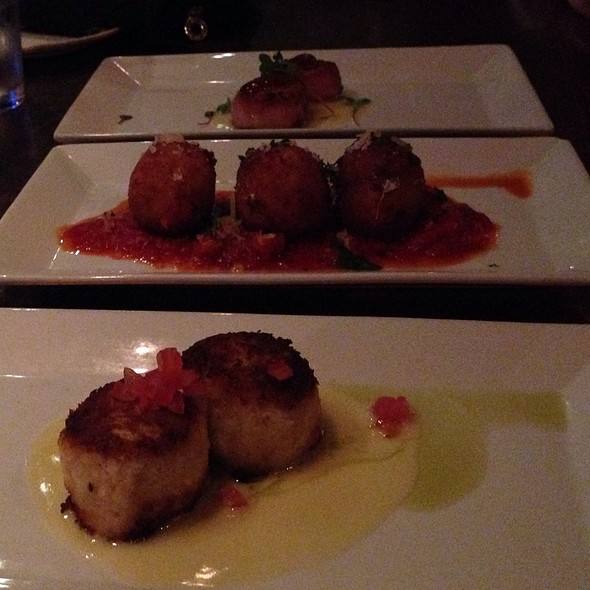 Lobster Crabcakes, Risotto Balls, And Seared Scallops - Blue Restaurant - Charlotte, NC, Charlotte, NC