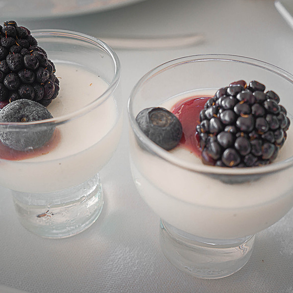 Blackberry Panna Cottas - Orchids at Halekulani, Honolulu, HI