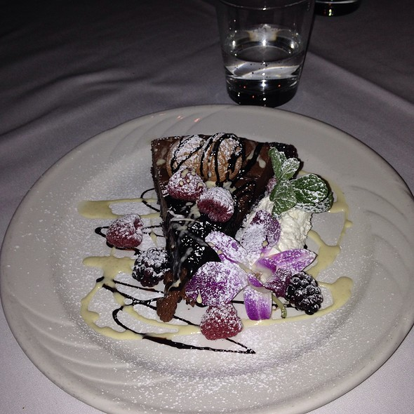 Cheesecake Topped With Chocolate & Strawberry Syrup - Port Land Grille, Wilmington, NC