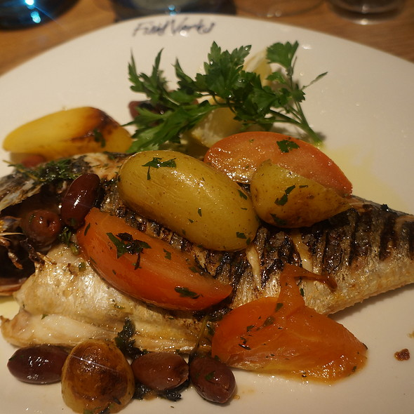 Roasted Sea Bream With Rosemary And Shallots Steamed In Red Wine - Fishworks - Swallow Street, London