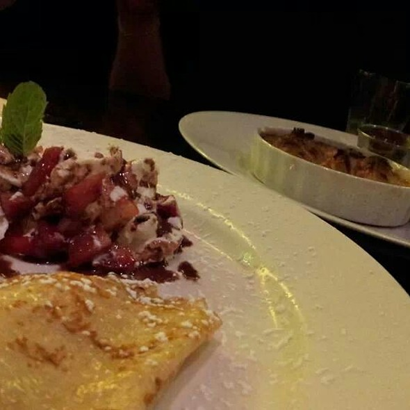 Chantilly Strawberry Crepes And Croissant Bread Pudding - Bijou Restaurant & Bar, Hayward, CA