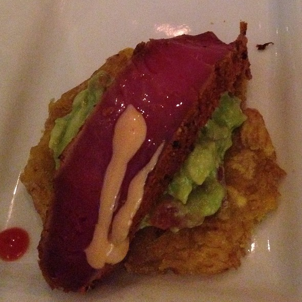 Fingerling Tostones - Tuna, Avocado, Arugula, Truffle Honey - MesaMar, Coral Gables, FL