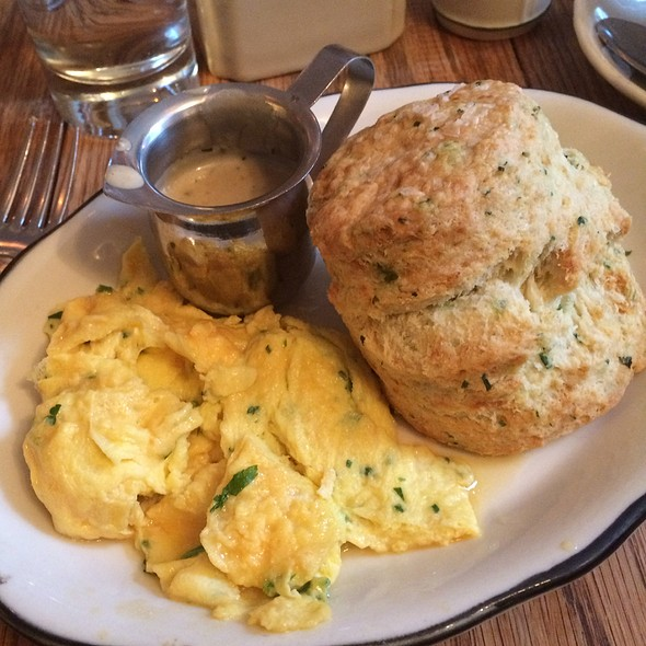 Buttermilk And Chive Biscuits With Bacon Gravy And Soft Scrambled Eggs - Tipsy Parson, New York, NY
