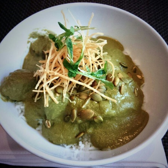 Food Truck Inspired Mole Verde With Pork, Tortilla, Pumpkin Seeds, Micro Cilantro - Diva at the Met, Vancouver, BC