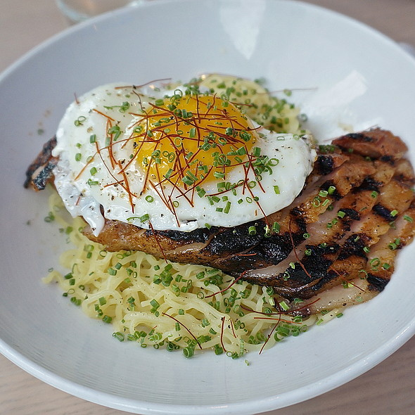 Belly of the beast, 24 hr marinated grilled heritage pork belly, ramen noodles, six minute egg - Jellyfish, Chicago, IL