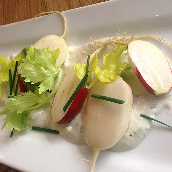 Raw Radish And Turnips On Pt. Reyes Blue Cream - Jsix Restaurant, San Diego, CA