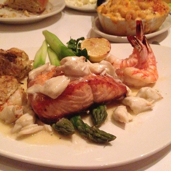 Salmon  Topped With Jumbo Lump Crabmeat With Grilled And Crab Stuffed Shrimp - Nero's Italian Steakhouse, Atlantic City, NJ