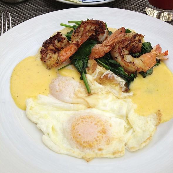 Blackened Shrimp And Grits With Eggs - Ostra at Mokara Hotel & Spa, San Antonio, TX