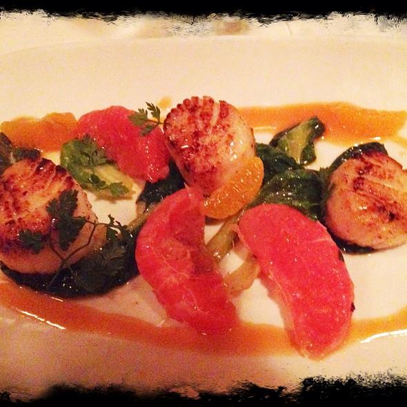 Scallops With Blood Orange Gastrique & Grapefruit Salad - Perbacco, San Francisco, CA