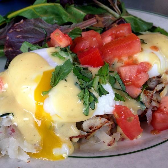 Poached Eggs On Kale And Turkey Bacon Hash - Americana Restaurant, Del Mar, CA