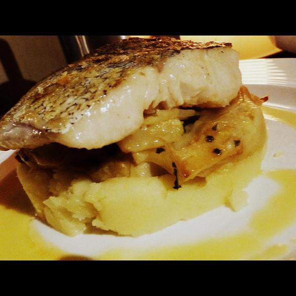 Oven roast hake on braised fennel, potatoes, pappardelle of carrot, lemon beurre blanc & a prawn oil - Cornstore, Cork, Cork