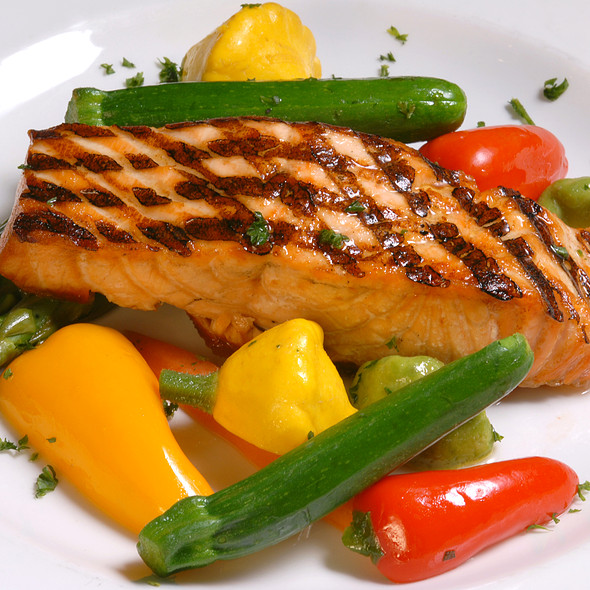 Grilled Salmon with Seasonal Vegetables - 21 Oceanfront, Newport Beach, CA