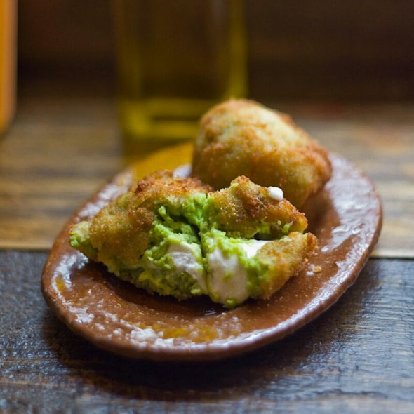 Pea, fresh cheese and truffle oil croquet - Copita, London