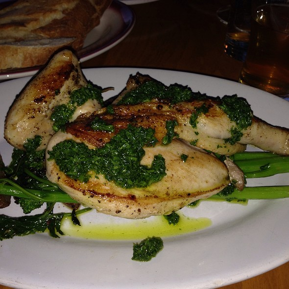 Roasted Draper Valley Chicken, New Potatoes, Spicy Rabe, Salsa Verde - Bar Avignon, Portland, OR