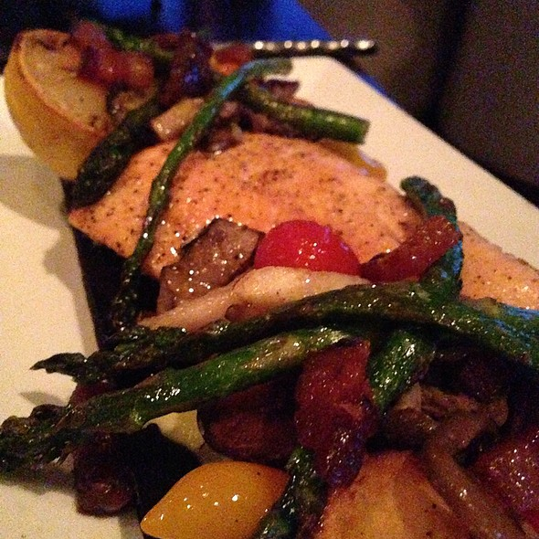Cedar Plank Salmon - Six Seven Restaurant & Lounge, Seattle, WA