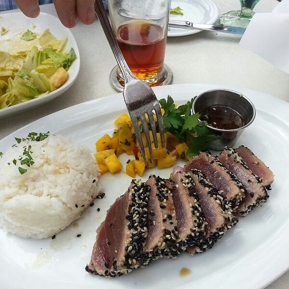 Seared ahi with ginger soy seared salmon - Lou & Mickey's, San Diego, CA