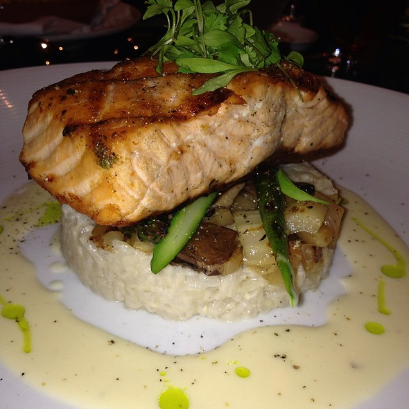 Seared Salmon With Wild Mushroom Risotto And Asparagus - Thalia, New York, NY