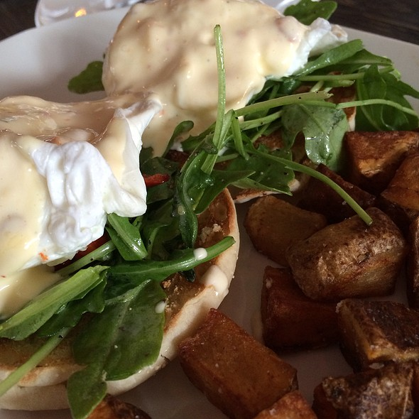 Red Pepper And Arugula Eggs Benedict - Mezetto, New York, NY