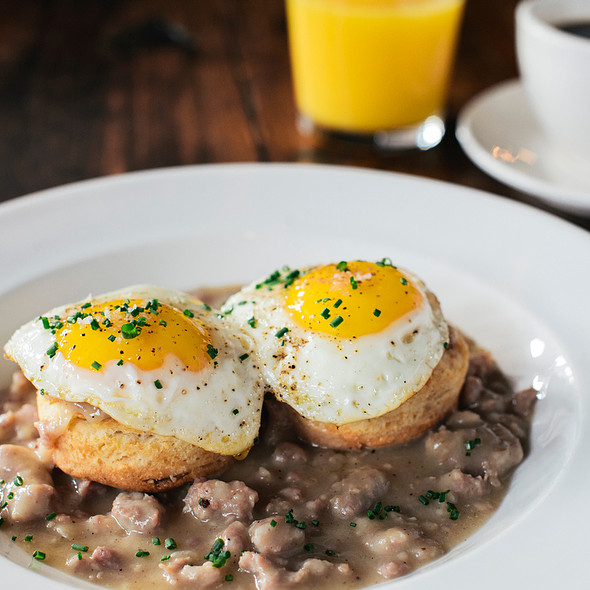 Biscuits, Gravy & Fried Eggs - PARK Restaurant & Bar, Cambridge, MA