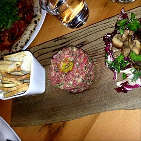 Beef Striploin Tartare ~ Chips ~ Pickled Onions ~ Quail Egg 18 - Bruce Wine Bar, Thornbury, ON
