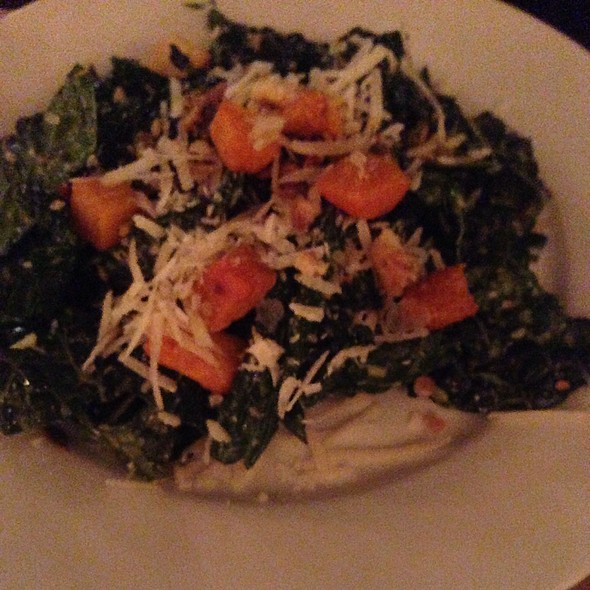 Tuscan kale salad, roasted butternut squash, pumpkin seeds, grana padano, crushed croutons - tesori, Chicago, IL