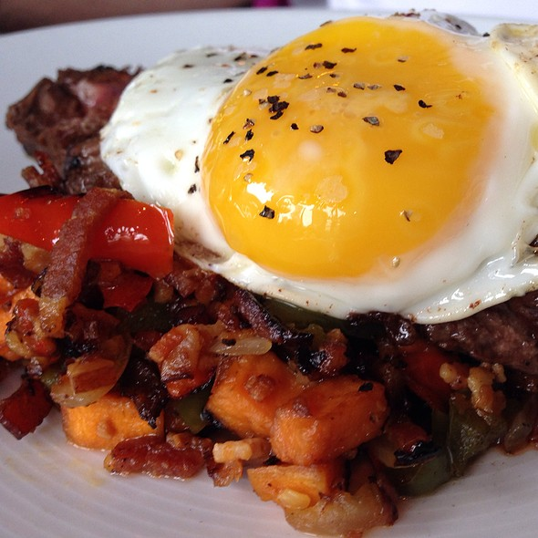 Hangar Steak With Sweet Potato Bacon Hash - Brenner's Steakhouse on the Bayou, Houston, TX