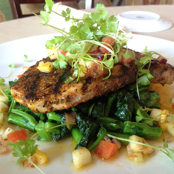 Wild Swordfish Blackened With Sauteed Rapini And Mango Cucumber Vinaigrette. - Tanino, Los Angeles, CA